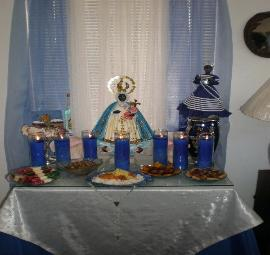 Oricha Yemaya Feast Day with Altar and Offerings
